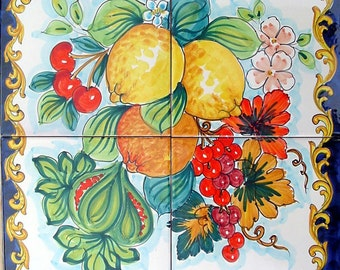 Ceramic Tile Backsplash Tile Mural Cherry And Pomegranate - Ceramic tile murals for outdoors