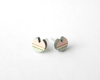 circle earrings, stud earrings, pink earrings, green earrings, gift for her, geometric earrings, wooden earrings, wood earrings