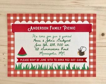 Summer Picnic Postcard Invitation