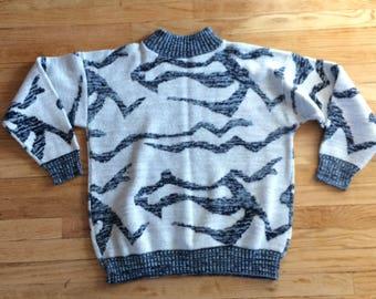 80s Sweater Metallic Lurex White Weathered Blue Boxy M S