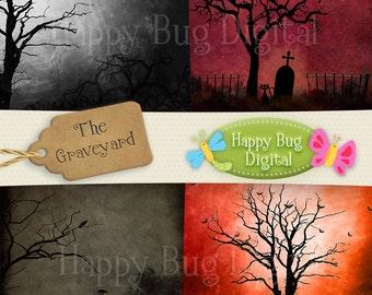 Graveyard Halloween Digital Paper Pack 10 Sheets Commercial Use OK - INSTANT DOWNLOAD