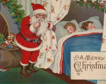 Vintage Christmas postcard Santa Claus toys children digital download printable instant image