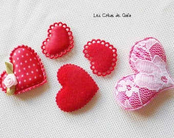 5 x heart in red cloth - to sew or stick - style Valentine's day