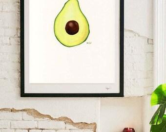 Avocado Printable, Instant Avocado Print   Avocado Illustration Wall Art  Avocado Kitchen Printable Kitchen Picture