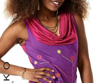 Sale! PSYTRANCE TOP - assorted colours - Cowl neck cotton top, festival top, psytrance vest, Goa Top, Lntodn