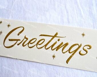 Vintage Christmas Card  -  Mid Century Greetings - Unused Rust Craft