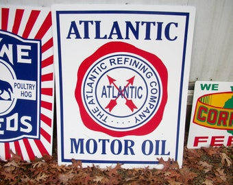 Atlantic Motor Oil Metal Sign 23x18 inch