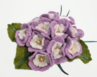Felt Flower Violet Brooch Pin, Wool Felt Lilac Flower Brooch, Ready to ship.
