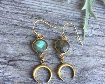 New moon earrings moon drop earrings labradorite earrings half moon earrings crescent earrings