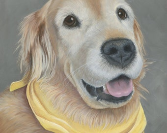 Pet Portrait Custom, Golden Retriever Oil Painting,  Ready to Hang, Original, Hand Painted Art from your Photo