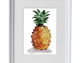 Pineapple framed watercolour print