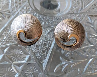Mid Century Brushed Silver & Gold Earrings