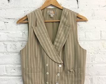vintage 80s Liz Claiborne neutral striped double breasted vest / cropped notched lapel womens suit vest