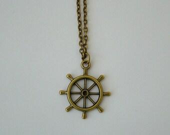 Bronze ships wheel necklace, nautical, ship wheel, pirate, ocean, nautical, pirate necklace, pirate ship necklace, ship necklace, sailor