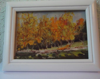 Miniature Painting, Oil Painting, Original Painting, Vintage Painting, Landscape Painting, Framed Painting, Painting on Cardboard, Autumn