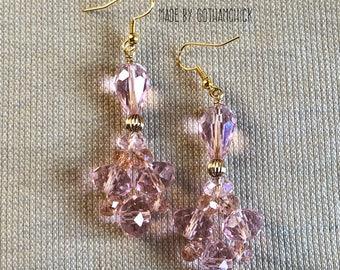 Pink rose crystal shimmer earrings
