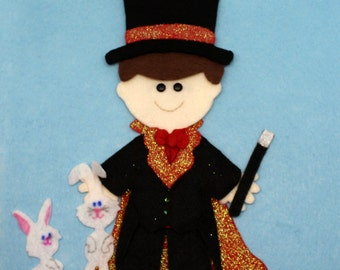 SHOP CLOSING SALE - Outfit For Felt Doll Magician Dress Up Set Doll Not Included