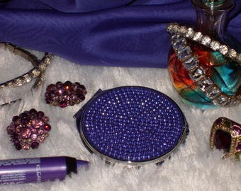 Purple Rhinestone compact mirror BRAND NEW!  glamorous, sparkles!!! MAC inspired by Selena Boutique