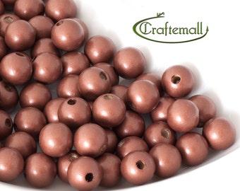 Wooden Beads - metallic copper 12mm - 20 Beads