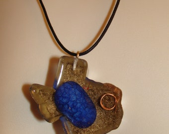 Texas pendant blue speckled rock in resin