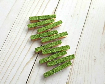 Mini Glitter Clothespins. Celery Green. Greenery. Mini Clothespins. Wedding Decor. Party Decor. Place Card Holders. Bag Toppers. Mini Clips