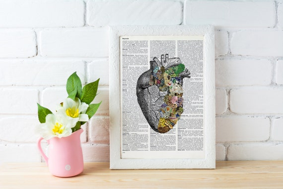 gift Human Heart, Minerals and stones Heart. Anatomy art dictionary page -Love gift -Anatomy art, Wall art  SKA128