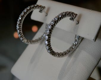 Handmade OOAK Oval Diamond Hoop Earrings (FREE Custom Sizing Available)