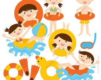 Pool Party Clipart, Summer Clipart, Pool Clip Art, Beach Clipart, Swimming Graphics for Invitations Scrapbook INSTANT DOWNLOAD CLIPARTS C73