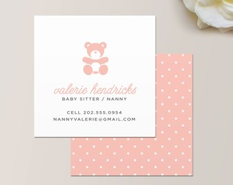 Portrait business card design babysitter business card nanny or babysitter square business card calling card mommy card contact card reheart Gallery
