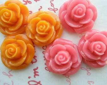 SALE ME--8 High Quality Round Rose cabochons MIX 6pcs Orange Pink
