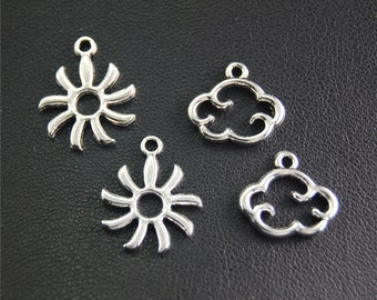 30pcs Antique Silver Sun And Cloud Charms Pendant A2050/A2051