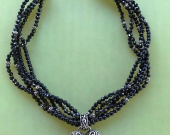 Black & Silver Glam Bead choker - with heart pendant