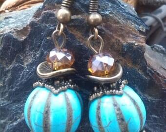 Boucles d'oreilles perles citrouille turquoise et bohème