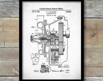 Supercharger Patent Print,  Art Print, Patent Poster, Auto Art, Blueprint Art, Automotive Art, Automotive Decor, Car Part Blueprint, P479