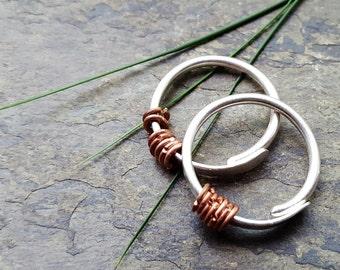 12g beringed hoops-- gauged hoop earrings-- handmade by thebeadedlily