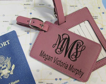 Interlocking Monogram with Full Name Luggage Tags - Personalized Luggage Tag - Leatherette Luggage Tag - Luggage Tags