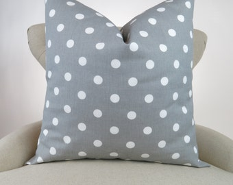 Throw Pillow, Decorative Cushion, Euro Sham, Accent Pillow, Gray White Polka Dot Pillow, Grey Decor -MANY SIZES- Storm Premier Prints