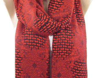 Mothers Day Gift For Her Red Scarf Shawl Wrap   Infinity Scarf Circle Scarf Loop    Wife Gift For Mom Holiday clothing gift