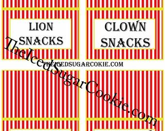 Circus Food Tent Cards Printable   Digital Download