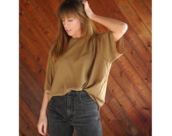 Slouchy Brown Oversized s/s Blouse Top - Vintage 90s - XXL