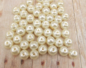 6mm Glass Pearls - Vanilla - 75 pieces - Off-White - Light Cream - Ecru
