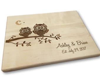 Personalized Wood Cutting Board, Owls, Bridal Shower, Wedding, Engagement, Newlyweds, 5th Anniversay, New Home Gift, Cheese Board,