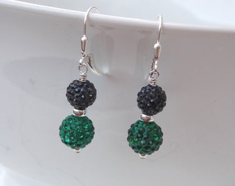 Green & Black Crystal Ball Drop Earrings with Sterling Silver Accents and Lever Back Clasps