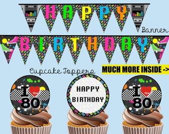 I Love The 80s Birthday Party Package, Instant Download