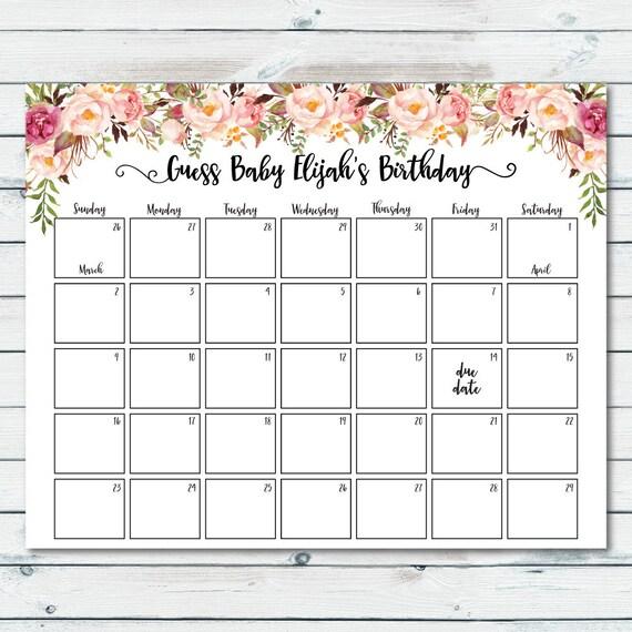 printable due date calendar