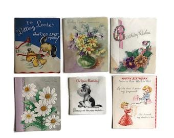 Vintage Greeting Cards, Used, 1940s-50s, Vintage Birthday Cards, Scrapbooking, Vintage Paper Ephemera, Craft Supplies, Greeting Card Collage