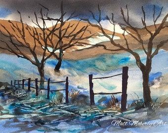 Original Watercolor Painting Winter Scene