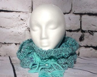 Funky drawstring infinity scarf with tassels