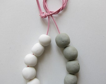 Ceramic Necklace, white and greenish grey hand modelled porcelain beads