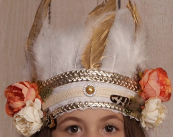 Indian feather headdress,kids bohemian crown,crown photo prop,indian costume,indian headdress,feather crown,birthday photo shoot stop